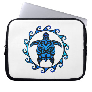 Blue Tribal Turtle Sun Computer Sleeve