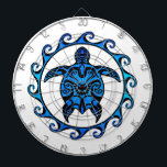 "Blue Tribal Turtle Sun Dartboard With Darts<br><div class=""desc"">Ocean blue turtle design inspired by tribal Polynesian tattoos in the center of a Maori Sun symbol.</div>"