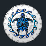 "Blue Tribal Turtle Sun Dartboard With Darts<br><div class=""desc"">Ocean blue turtle design inspired by tribal Polynesian tattoos in the center of a Maori Sun symbol.</div>"
