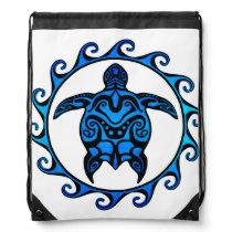 Blue Tribal Turtle Sun Drawstring Bag