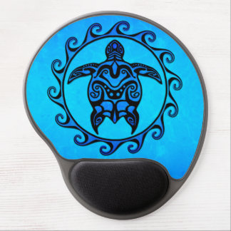 Blue Tribal Turtle Sun Gel Mouse Pad