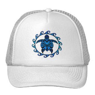 Blue Tribal Turtle Sun Mesh Hat
