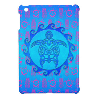 Blue Tribal Turtle Sun iPad Mini Covers