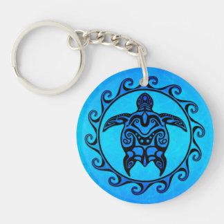 Blue Tribal Turtle Sun Keychains