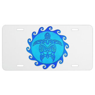 Blue Tribal Turtle Sun License Plate