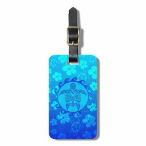 Blue Tribal Turtle Sun Luggage Tag