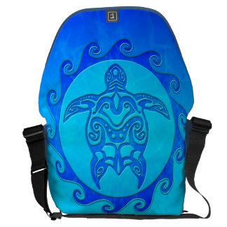 Blue Tribal Turtle Sun Messenger Bags