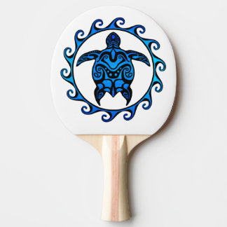 Blue Tribal Turtle Sun Ping-Pong Paddle