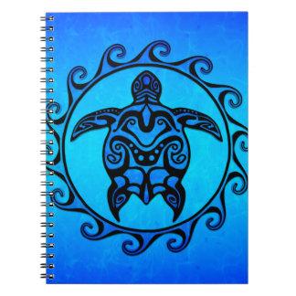 Blue Tribal Turtle Sun Spiral Notebook