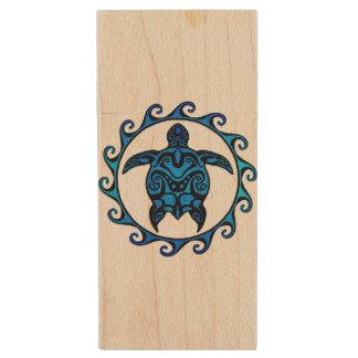 Blue Tribal Turtle Sun Wood USB Flash Drive
