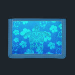 """Blue Tribal Turtle Trifold Wallet<br><div class=""""desc"""">Ocean blue turtle design inspired by tribal Polynesian tattoos. Ocean blue background of blue Hawaiian Honu sea turtles and hibiscus flowers.</div>"""