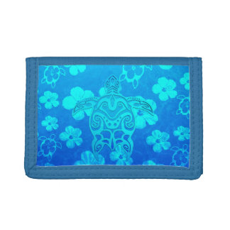 Blue Tribal Turtle Trifold Wallet