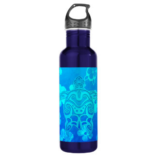 Blue Tribal Turtle Water Bottle