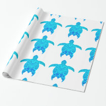 Blue Tribal Turtle Wrapping Paper