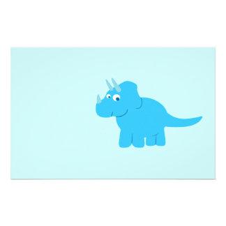 Blue Triceratops Dinosaur Stationery