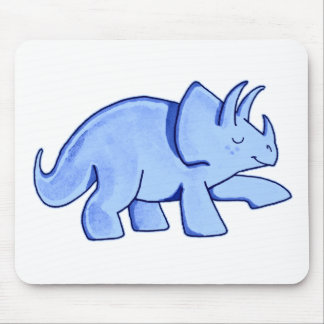 Blue Triceratops Mouse Pad