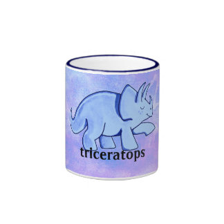 Blue Triceratops Ringer Coffee Mug