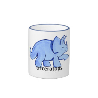 Blue Triceratops Mugs