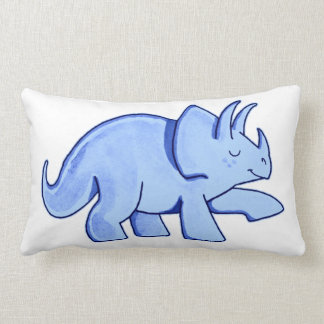 Blue Triceratops Pillow
