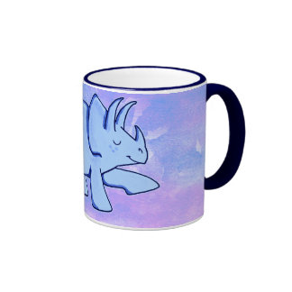 Blue Triceratops Ringer Mug