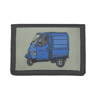 Blue Tricycle Van (foodtruck) Tri-fold Wallets