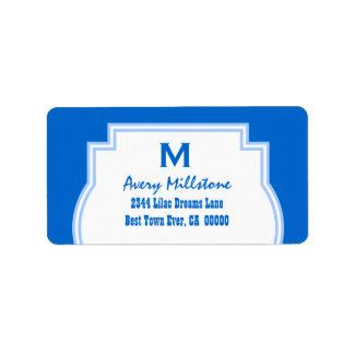 Blue Trim Ornate Frame and Monogram V10 BLUE Label