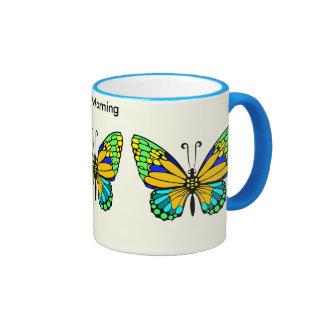 Blue-Trimmed Morning Butterfly Mug