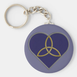 Blue Trinity Heart Keychain
