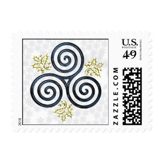 Blue Triple Spiral with Holly Leaves Postage Stamp