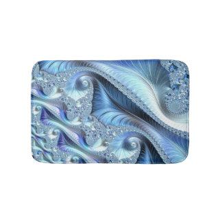 Blue Trippy Psychedelic Fine Fractal Art Bath Mat