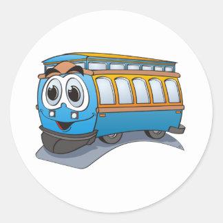 Blue Trolley Cartoon Classic Round Sticker