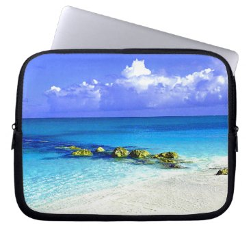 Blue Tropic Waters With White Sandy Beach Computer Sleeve