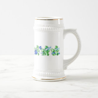 Blue Tropical Fish in Plants Beer Stein