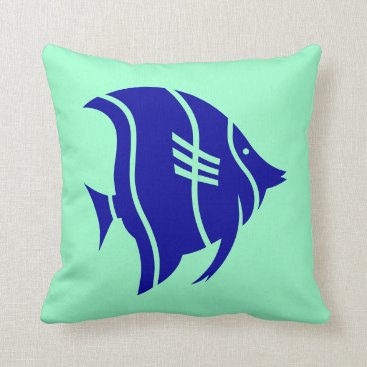Beach Themed Blue tropical fish on mint green throw pillow