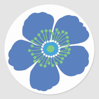 Blue Tropical Flower Classic Round Sticker