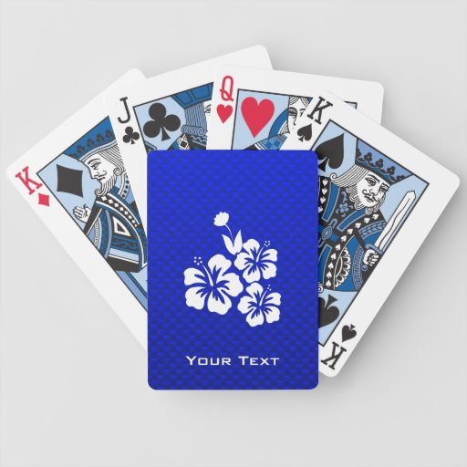 Blue Tropical Flowers Bicycle Playing Cards