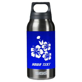 Blue Tropical Flowers Insulated Water Bottle