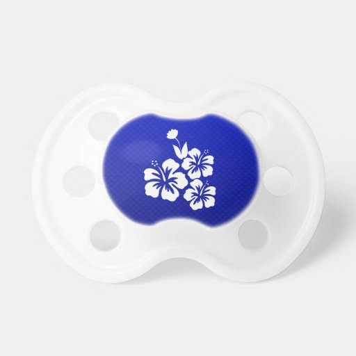 Blue Tropical Flowers Baby Pacifiers