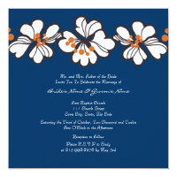 Blue Tropical Flowers Wedding Invitation