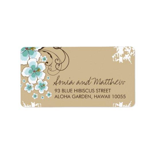 Blue Tropical Hibiscus Beach Wedding Address Label Zazzlecom