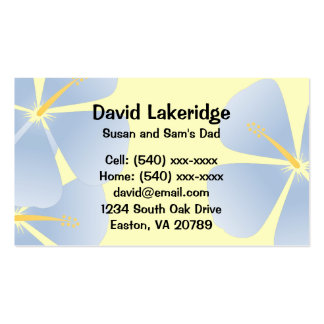 Blue Tropical Hibiscus Daddy Contact Info Card Business Card