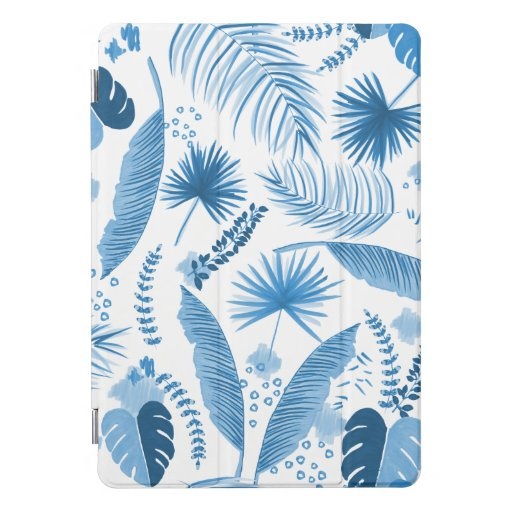 Blue Tropical Leaves Pattern iPad Pro Cover