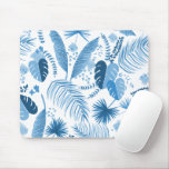 Blue Tropical Leaves Pattern Mouse Pad