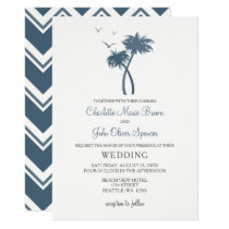 Blue Tropical Palm Tree Wedding Invitations