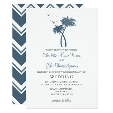 Beach Themed Blue Tropical Palm Tree Wedding Invitations