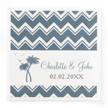 Beach Themed Blue Tropical Palm Tree Wedding Napkins