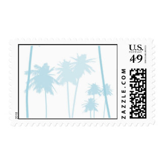 Blue Tropical Palm Tree Wedding Postage