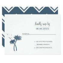 Blue Tropical Palm Tree Wedding rsvp Card