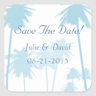 Blue Tropical Palm Tree Wedding Save The Date Square Sticker