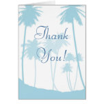 Blue Tropical Palm Tree Wedding Thank You Card